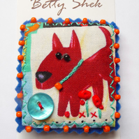 ON SALE - Vintage fabric with dog design printed textile handmade beaded brooch