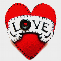 FB120 - Hot Red LOVE Heart Shape Handmade Felt Brooch For Your Loved One