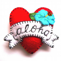 FB134 - Hot Red ALOHA Heart Shape Handmade Felt Brooch For Your Loved One
