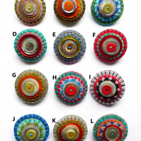 Metallic Shinny Colored Shell Button Mini Felt Brooch