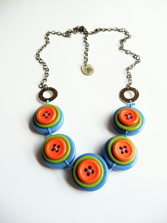 FY-004  Smoky Blue - olive Green and Orange -  Buttons Handmade Necklace