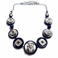 FY-012 Vintage Metal Button Necklace - One-Of -A-Kind