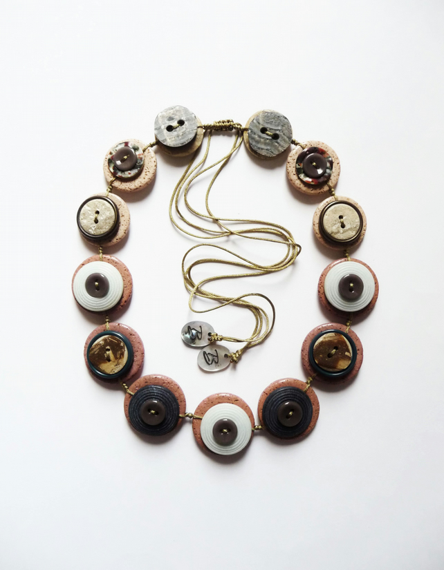 WAS 17.00 NOW 13.00 Beside The Seaside - Vintage Buttons Handmade Necklace