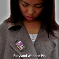 Felt embroidery art work - Wood Brooch