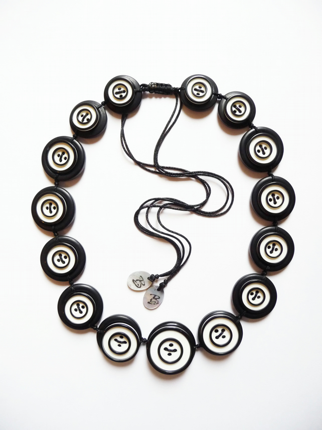 ON SALE - Black and White Buttons Handmade Necklace - one off design