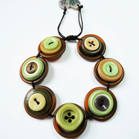 FY022 Vintage Buttons Adjustable Bracelet