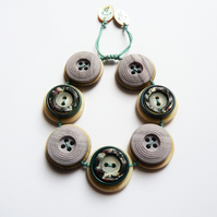 ON SALE - FY024 Vintage Buttons Adjustable Bracelet