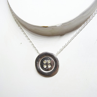 Free shipping - Gifts for her - sterling Silver Button Necklace