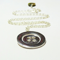 WAS 38.00 ,NOW 31.00 Gifts for her - sterling Silver Button Design Necklace