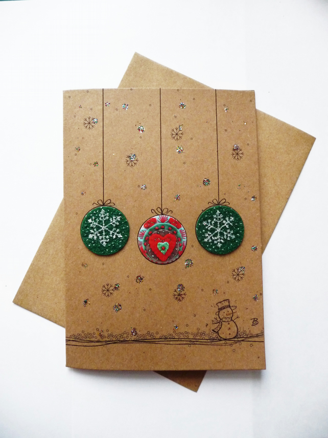 Christmas card with baubles featured with my handmade felt brooch design print