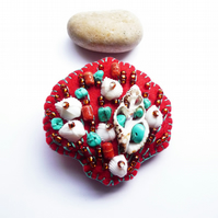 ON SALE - 20% off Beside The Seaside Theme -Sea Shell Handmade Felt Brooch - Red
