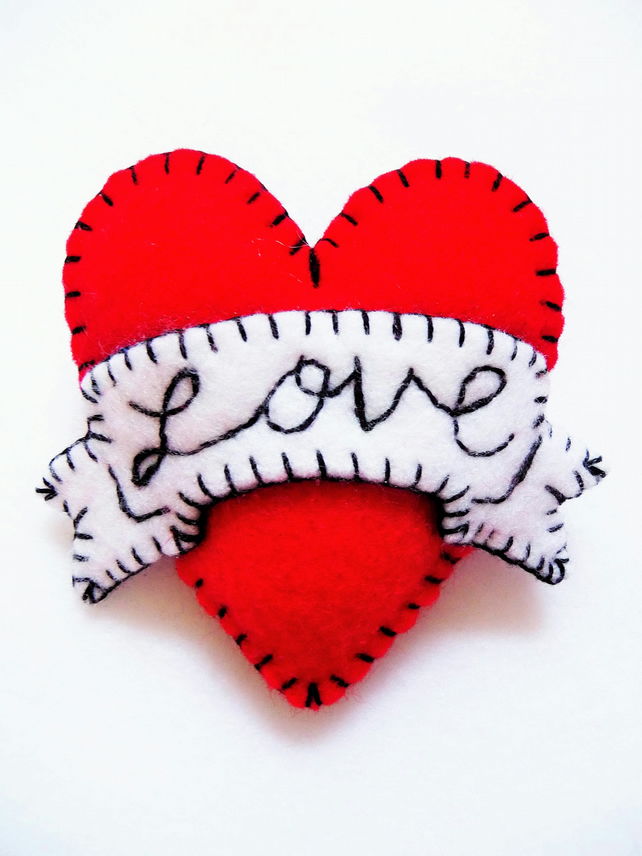 FB062 - Hot Red LOVE Heart Shape Handmade Felt Brooch For Your Loved One