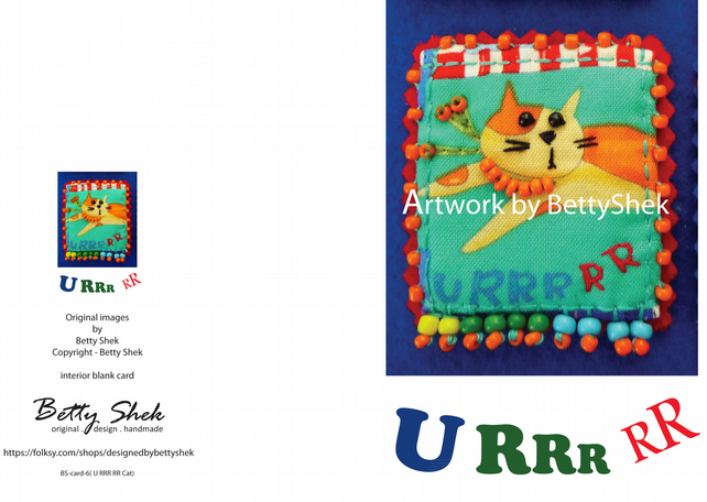Greeting card - U RRR  cat  - artwork by Betty Shek