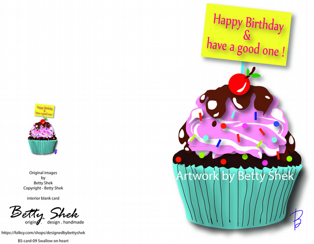 Design - Cupcake Birthday card - an illustration by Betty Shek