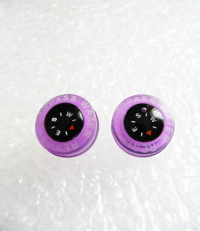WAS 4.95 NOW 3.95 , Bright and colourful mini compass stud earrings