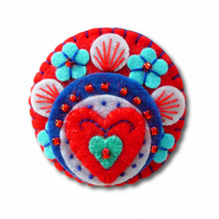 FB069 - Heart to Heart - Handmade Mini Felt Brooch - Red - Made to order