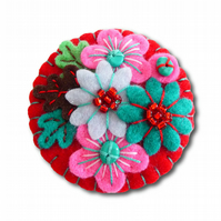FB042 - Japanese Art Inspired Handmade Mini Felt Brooch - Red - Made to order
