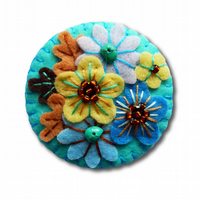 Japanese Art Inspired Handmade Mini Felt Brooch - Turquoise