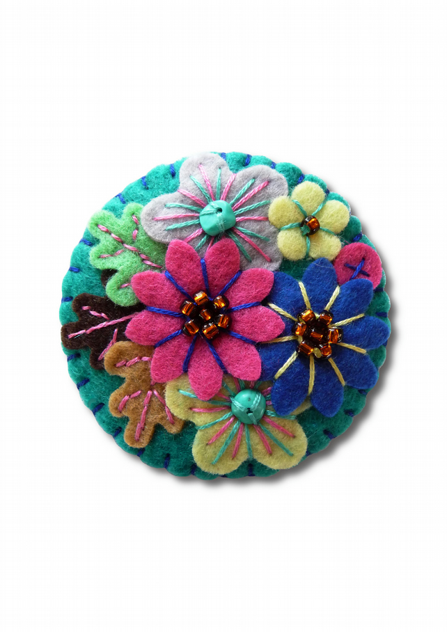 FB-094  - Japanese Art Inspired Handmade Mini Felt Brooch - Petrol Blue