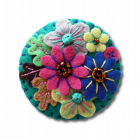 Japanese Art Inspired Handmade Mini Felt Brooch - Petrol Blue