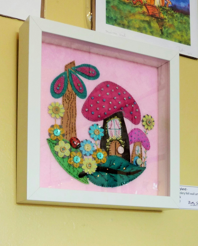 SHIP TO UK ONLY - FREE - Pink Fairyland  - Framed Handmade Felt Wall Art