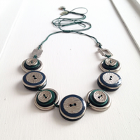 ON SALE - Bottle Green Vintage Button Handmade Necklace - one off design