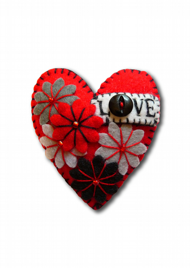 FB117 - Hot Red LOVE Heart Shape Handmade Felt Brooch For Your Loved One