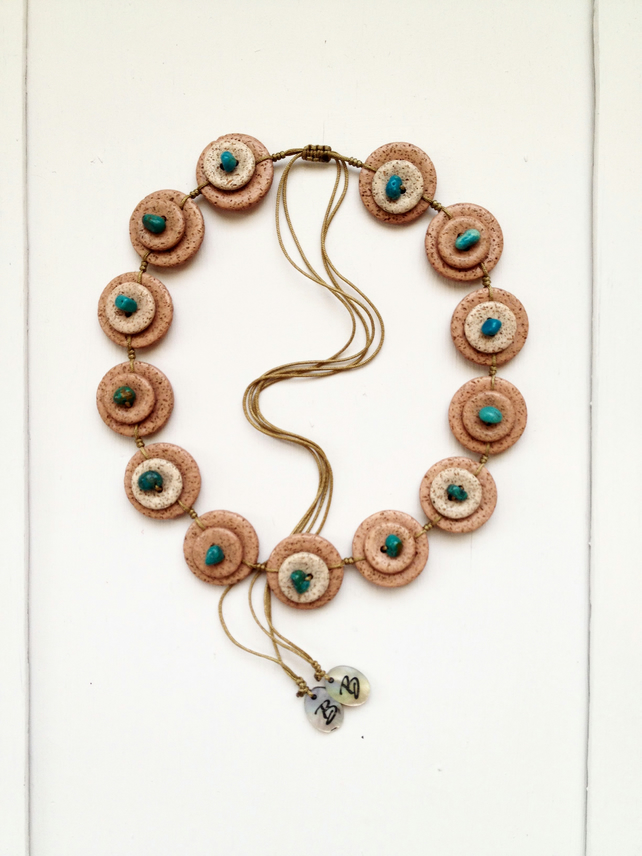 "ON SALE . Beautiful stone"" LOOK ""vintage button necklace beaded . turquoise bead"
