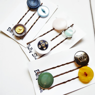 MORE THAN HALF PRICE . Three Packs Of 9 . Handmade Vintage Buttons Bobby Pins