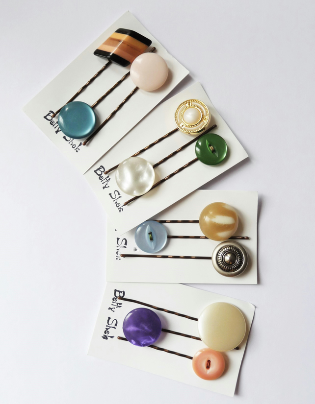 MORE THAN HALF PRICE . Four Packs Of 12 . Handmade Vintage Buttons Bobby Pins
