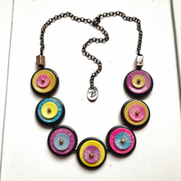 WAS 15.00, NOW 13.00 Rainbow in your heart . Handmade Buttons Necklace