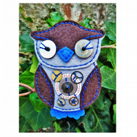 Steampunk Inspired Owl Design Handmade Felt Brooch