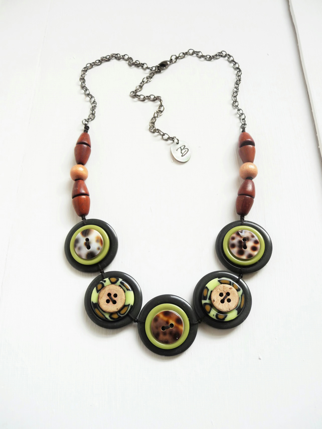 ON SALE . Jungle Theme Dark Olive and  Lime Green Buttons Handmade Necklace