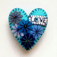 Turquoise or Hot Red LOVE Heart Shape Handmade Felt Brooch For Your Loved One -