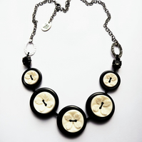 WAS 15.00 NOW 11.00 Black and White Buttons Handmade Necklace