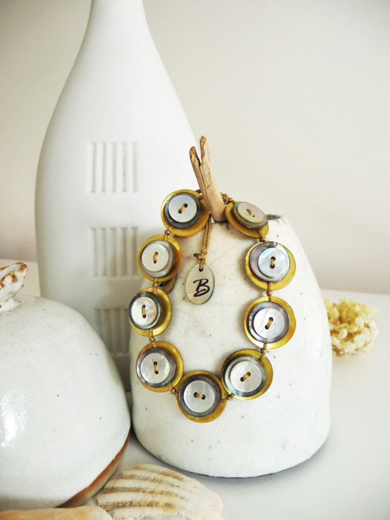 Bright and Shiny Yellow Coloured Shell Buttons Handmade Adjustable Bracelet