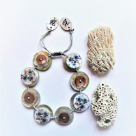 Was 13.50,Now 10.00 Shell Button Handmade Adjustable Bracelet