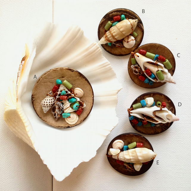 WAS 12.00 NOW 8.80, Coconut button handmade shell brooch