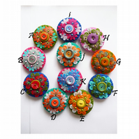 WAS 11.00,NOW 9.00 each ,Flower Kaleidoscope inspired Mini Felt Brooch.