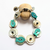 Fish Design Shell Button Handmade Adjustable Bracelet