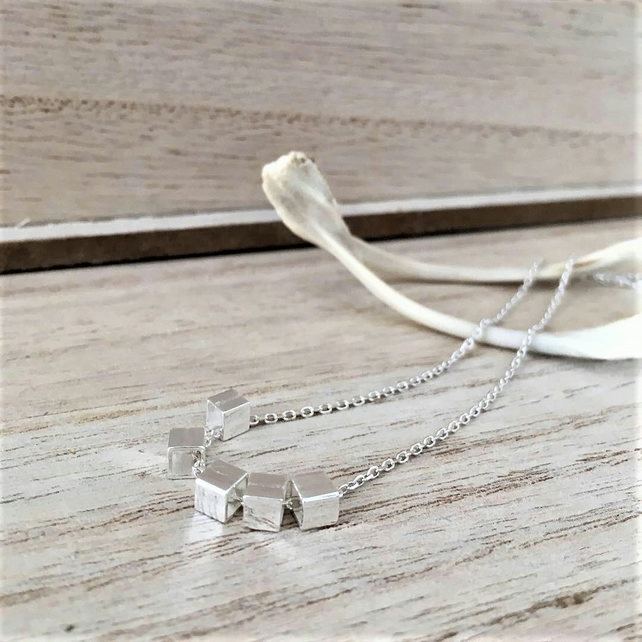 5 M I N I C U B E S-simple . urban chic minimal style sterling silver necklace