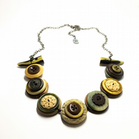 Beautiful Autumn Colour Theme Vintage Buttons Necklace - one off item