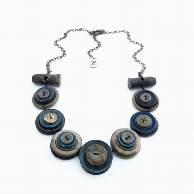 Beautiful Smoky Blue Colour Theme Vintage Buttons Necklace - one off item
