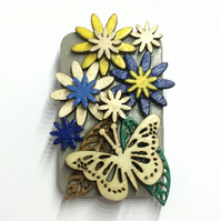 Butterfly in the garden - hand painted laser cut wood brooch