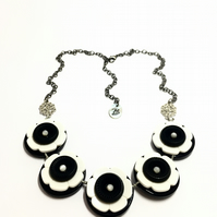 ON SALE - Black and White colour theme button handmade necklace  - one off item