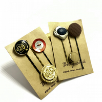 HALF PRICE . Twin Packs Of 6 . Handmade Vintage Buttons Bobby Pins