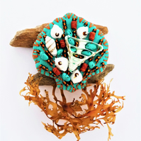 Beside The Seaside Theme -  Sea Shell Handmade Felt Brooch - Turquoise