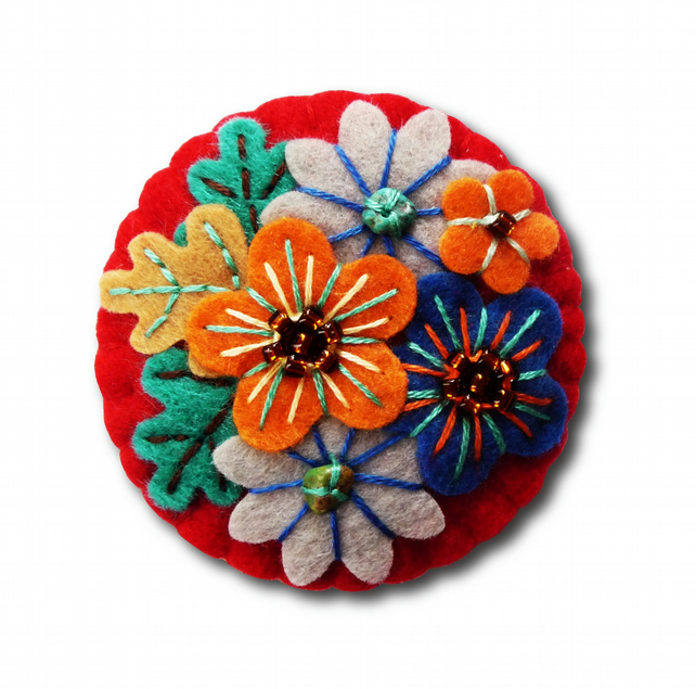 Japanese Art Inspired Handmade Mini Felt Brooch - Red