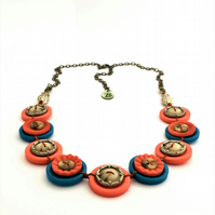 Colour of sunset - vintage button necklace. Unique style and one-of-a-kind gift