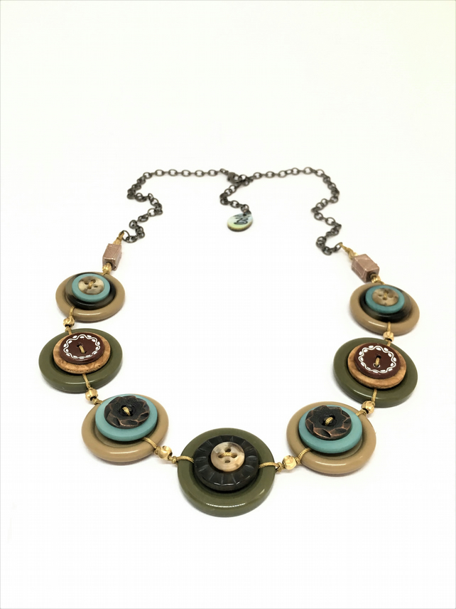 Mother's Day Special - Autumn Color Theme Vintage Buttons Handmade Necklace